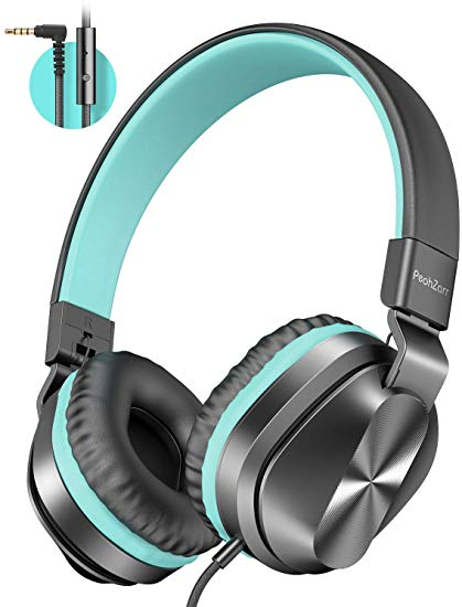 On-Ear Headphones with Microphone, Lightweight Folding Stereo Bass Headphones with 1.5M Tangle Free Cord, Portable Wired Headphones for Smartphone Tablet Laptop Computer MP3/4-Mint