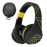 Bluetooth Over-Ear Headphones, Wireless Stereo Foldable Headphones Wireless and Wired Headsets with Built-in Mic, Micro SD/TF, FM for iPhone/Samsung/iPad/PC (Black/Yellow)