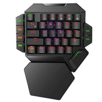 RGB One Handed Mechanical Gaming Keyboard,Colorful Backlit Professional Gaming Keyboard with Wrist Rest Support,USB Wired Single Hand Mechanical Keyboard for Game