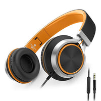 C8 Wired Folding Headphones with Microphone and Volume Control for Cellphones Tablets Android Smartphones Laptop Computer Mp3/4 (Black/Orange)