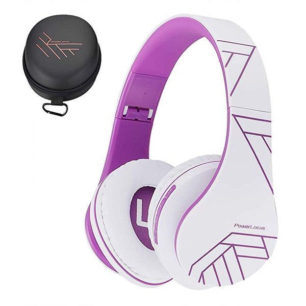 Bluetooth Over-Ear Headphones, Wireless Stereo Foldable Headphones Wireless and Wired Headsets with Built-in Mic, Micro SD/TF, FM for iPhone/Samsung/iPad/PC (White/Violet)
