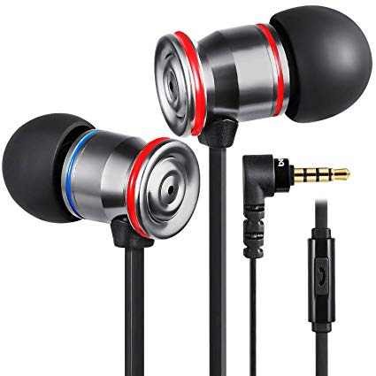 MK23 Earphones Noise Isolating in Ear Headphones with Microphone Bass Driven Sound Tangle-Free Flat Cable for Apple iPhone iPod iPad Samsung