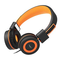 Elecder i37 Kids Headphones Children Girls Boys Teens Foldable Adjustable On Ear Headphones 3.5mm Jack Compatible iPad Cellphones Computer MP3/4 Kindle Airplane School Tablet Orange/Black