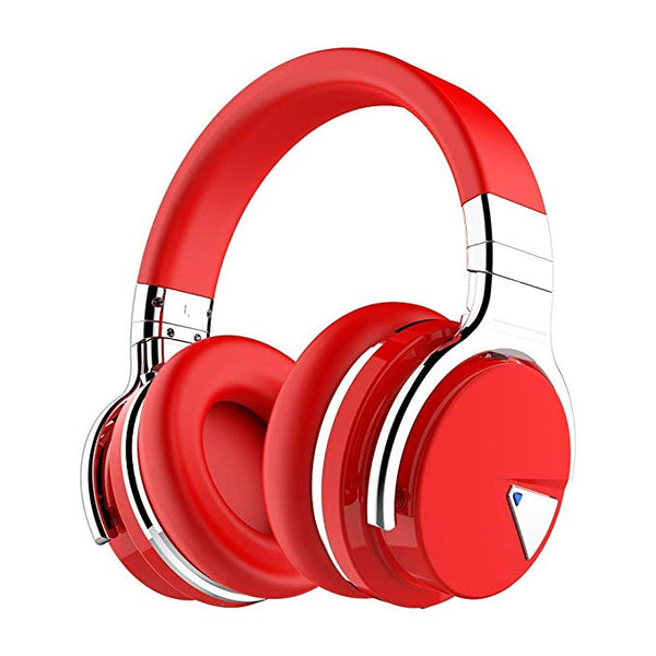 COWIN E7 Active Noise Cancelling Bluetooth Headphones with Microphone Deep Bass Wireless Headphones Over Ear, Comfortable Protein Earpads, 30H Playtime for Travel Work TV Computer Phone - Red