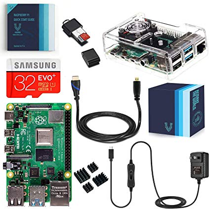 Raspberry Pi 4 Complete Kit with Clear Transparent Fan Cooled Case (2GB)