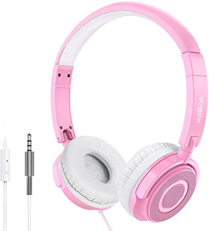 On Ear Headphones with Mic, Vogek Lightweight Portable Fold-Flat Stereo Bass Headphones with 1.5M Tangle Free Cord and Microphone-Pink