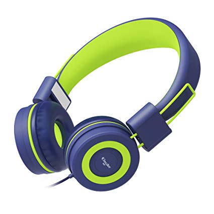 Elecder i37 Kids Headphones Children Girls Boys Teens Foldable Adjustable On Ear Headphones 3.5mm Jack Compatible iPad Cellphones Computer MP3/4 Kindle Airplane School Tablet Navy