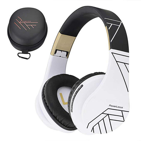 Bluetooth Over-Ear Headphones, Wireless Stereo Foldable Headphones Wireless and Wired Headsets with Built-in Mic, Micro SD/TF, FM for iPhone/Samsung/iPad/PC (Black/White)