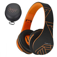 Bluetooth Over-Ear Headphones, Wireless Stereo Foldable Headphones Wireless and Wired Headsets with Built-in Mic, Micro SD/TF, FM for iPhone/Samsung/iPad/PC (Black/Orange)