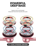 Classic 2 Quad Dynamic Drivers Deep Bass Half In-Ear Headphones with Microphone, Volume Control, Noise Isolating Lightweight 3.5mm Wired Earphones for Work, Commute, Sports (Rose Gold/White)