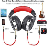 Over Ear Headphone, Wired Bass Headsets with 50mm Driver, Foldable Lightweight Headphones with Shareport and Mic for Recording Monitoring Podcast Guitar PC TV - (Red)