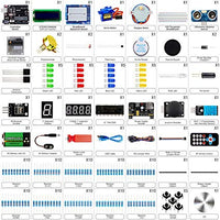 Super Starter Kit with Breadboard, Power Supply, Jumper Wires, Resistors, LED, LCD 1602, Sensors, Detailed Tutorial for Project, Compatible with Arduino