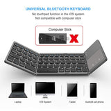 Foldable Bluetooth Keyboard,  Dual Mode Bluetooth & USB Wired Rechargable Portable Mini BT Wireless Keyboard with Touchpad Mouse for Android, Windows, PC, Tablet-Dark Gray