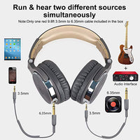 Over Ear Headphone, Wired Bass Headsets with 50mm Driver, Foldable Lightweight Headphones with Shareport and Mic for Recording Monitoring Mixing Podcast Guitar PC TV - (Grey)
