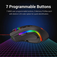 M602 RGB Wired Gaming Mouse RGB Spectrum Backlit Ergonomic Mouse Griffin Programmable with 7 backlight modes up to 7200 DPI for Windows PC Gamers (Black)