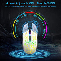 Gaming Mouse, Ergonomic Wired Gaming Mice 4 Level DPI 800/1200/1600/2400, 7 Colors RGB LED Breathing Light for Laptop PC Notebook Computer Games & Work -White
