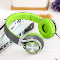 C8 Foldable Wired Headphones with Microphone and Volume Control for Cellphones Tablets Smartphones Laptop Computer PC Mp3/4 (Gray/Green)