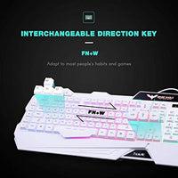 Havit Keyboard Rainbow Backlit Wired Gaming Keyboard Mouse Combo, LED 104 Keys USB Ergonomic Wrist Rest Keyboard, 3200DPI 6 Button Mouse for Windows PC Gamer Desktop, Computer (White)