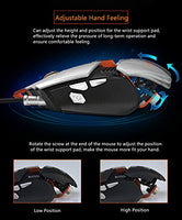 Ajazz GTX Wired Gaming Mouse, Adjustable Wrist Support and Counterweight, 7 Programmable Buttons, Special Gaming Side Button, Aluminum Framework, RGB Backlit Ergonomic Mechanical Computer Mic, Black