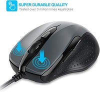 New 6-Button USB Wired Mouse Side Buttons, Optical Computer Mouse 1000/2000DPI, Ergonomic Design, 5ft Cord, Support Laptop Chromebook PC Desktop Mac Notebook