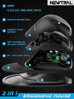 Semi-Vertical Ergonomic Mouse  3, Wired USB Medium Size, All Buttons Programmable, 1000/1500/2000/2500/3200/4800 DPI, Detachable Magnetic Palm Support Black