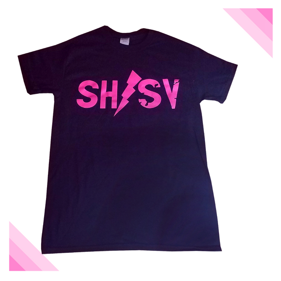 Super Hero/Super Villain Pink Lightning Bolt Tee