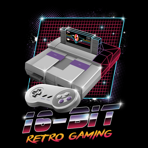 16-Bit Retro Gaming - Retro Wave, Black, Geek, Nerd, Birthday Gift, SNES, Super Nintendo, 1991, Japan, Japanese, Super Mario World, Zelda, Star Fox, Final Fantasy, Donkey Kong, Street Fighter 2, Mega Man, Men, Women, Tee, Kids, Earthbound, Mother, F-Zero, SFII, Ryu, Ken, Yoshi, Bowser, Princess Peach