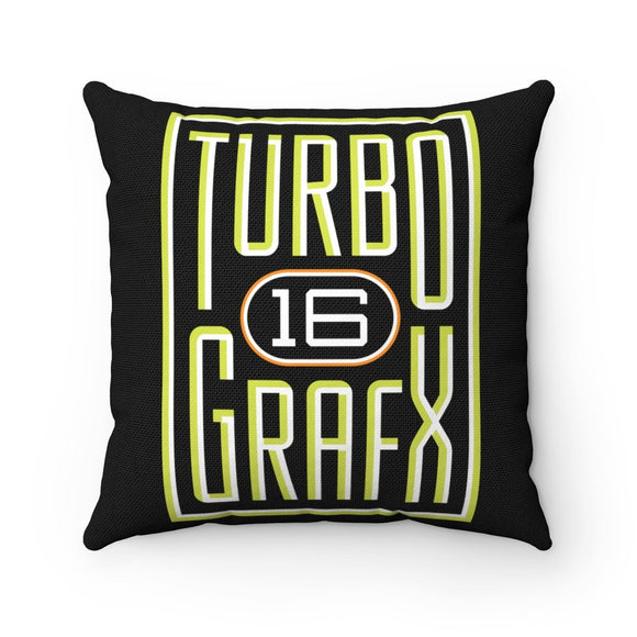 High Quality Art Work 100% Polyester cover Double sided print Concealed zipper pillow included. Gamer, Retro, PixelRetro, NEC, PC Engine, TurboGrafx 16, TG-16, 80s, 1980s, Hu Card, Japanese, Video Game, Console, Logo, Hudson, Bonk,  Shop, Home Decor, Sofa, Couch, Room, Online, Rondo