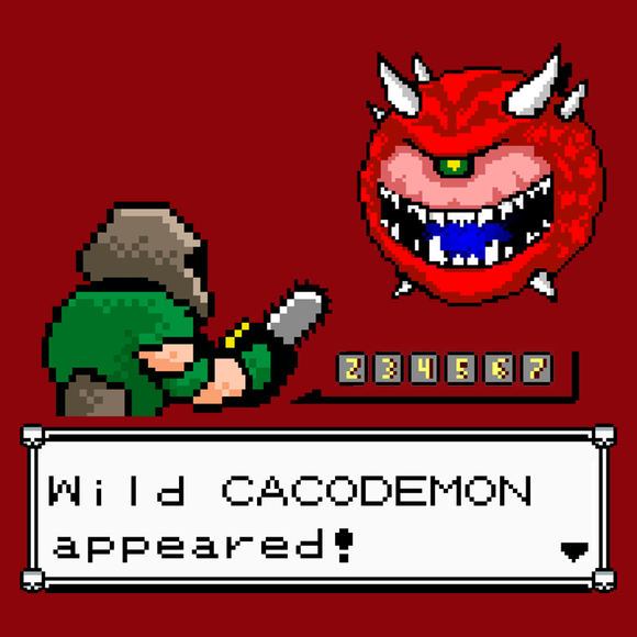 A Wild Cacodemon! - Retro and Pixel Video Game T-shirts - Retro, Doom, Cacodemon, FPS, Shooter, ID Software, PC, 1993, 90s, Doom Guy, Pixel, Demon, Doomguy, Pokemon, Game Boy, Gamer, Nerd, Geek, Pikachu, Nintendo, Battle, Kids, Mens, Womens,