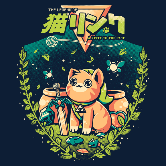 PixelRetro is your best destination for Video Game T-Shirts for Men and Women. Unisex Tee with a great fit. Cute Kitty Cat Mashed in his best Link, Legend of Zelda Mash up on a Navy T-Shirt. Smashed into an adorable, Nintendo design from A link to the Past and Ocarina of Time. Created with a unique look. Online shop only. Soft, durable and high quality cotton. Art By Ilustrata.