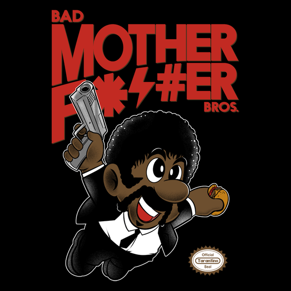 Bad Bros - Retro and Pixel Video Game T-shirts - Nintendo, NES, Super Mario, Mario 3, Box Art, SMW, Super Mario World, Bowser, Gamer, Mario Bros, Mash Up, Pulp Fiction, Bad Mother, 1994, Jules Winnfield, Say What Again, Drama, Crime, Men, Women, Kids, Tees, Clothes