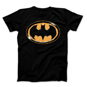 Batman Symbol - Video Game Pixel T-Shirts & Retro Gaming Tees! NES, Nintendo, 8-Bit, Pixel, Retro, 1980s, 80s, Title Screen, Push Start, Geek, Nerd, Japan, Arcade, Balloon Fight, Fighters, Pop, Arcade, 1984, 1986, VS, Action Super Mario, Pixel Retro, Men, Women, Tank, Long Sleeved