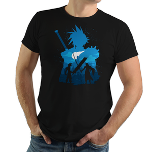 Shop like a gamer. PixelRetro is your best destination for Video Game T-Shirts for Men and Women. Unisex Tee with a great fit. Cloud Strife and Sephiroth from Final Fantasy VII on a Black or Navy T-Shirt. Battle design with a unique look that has Sword Fighting and JRPG elements.