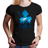 Shop like a gamer. PixelRetro is your best destination for Video Game T-Shirts for Women. Sephiroth and Cloud Strife from Final Fantasy 7 on a Black or Navy Blue Fit, Fitted T-Shirt. Battle design with a unique look that has Sword Fighting and JRPG elements.