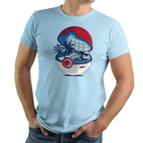 Blue Pokehouse - Retro and Pixel Video Game T-shirts - Pokemon, Red, Blue, Nintendo, Birthday, Christmas , 1996, Water, Bulbasaur, Bulbizarre, Carapuce, Fire Red, Game Boy , Ash, Leaf Green, 2004, Poke Ball, Pokehouse, Cute, Squirtle, Donnie, Videogame, Games, Gamer, Best, Women, Men, T-Shirt, Tee, Slim Fit, Tank Top, Long Sleeve