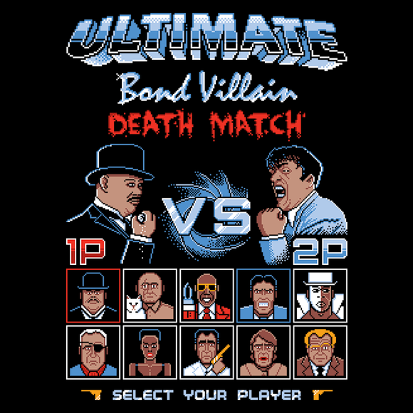 Bond Villain - Video Game Pixel T-Shirts & Retro Gaming Tees! 8-Bit, 8Bit, Nes, Nintendo, Street Fighter, SFII, James Bond, 007, Mashup, Mash up, Villain, Versus, Fighting Game, Movie, British, Spy, Boris, Alec Trevelyan, Oddjob, Jaws, Stationjack, Spectre, Goldfinger Men, Women, Kids, Clothes, Tees, Tank Top, Womens Fit, High Quality