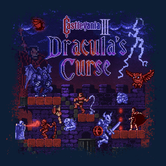 Castlevania 3 - Video Game Pixel T-Shirts & Retro Gaming Tees! NES, Nintendo, Nintendo Shirts, Pixel, 8-Bit, 80s, 1980s, 1990s, 90s, Retro, Gamer, Castlevania, Trevor C Belmont, Vampire Killer, Dracula, 1988, 1980s, Holy Water, Magic Cross, Action Adventure, Konami, Simon's Quest, Dracula's Curse, Alucard, Whip, Kari LikeLikes, Men, Women, Tank, Long Sleeved