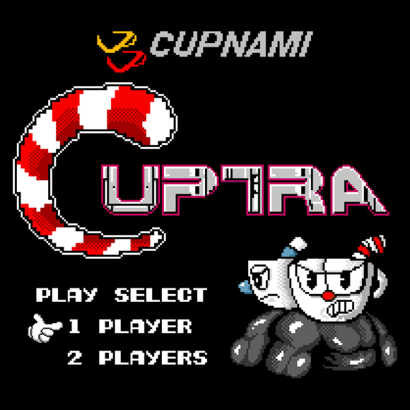 Cuptra - Video Game Pixel T-Shirts & Retro Gaming Tees! Mashup, Cuphead, Xbox, Mugman, Shooter, Xbox, The Devil, Gamer, Cartoon, 1930s, Indie, Classic, Gamer, Run, Gun, Box Art, NES, Nintendo, Contra, Title Screen, Start Screen, Pardoy, Pixel, Women, Men, Kids