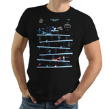 PixelRetro is your best destination for Video Game T-Shirts for Men and Women. Unisex Tee with a great fit. Donkey Kong Mashup from 1981 mashed up into a Ice, Winter style on a Black T-Shirt. Arcade, NES, Nintendo, Retro, classic design from the 80s, Mario, Pixel, Japan, Japanese design. Created with a unique look. Online shop only. Soft, durable and high quality cotton. Art By Ilustrata.