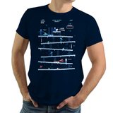 PixelRetro is your best destination for Video Game T-Shirts for Men and Women. Unisex Tee with a great fit. Donkey Kong Mashup from 1981 mashed up into an Ice, Winter style on a Navy Blue T-Shirt. Arcade, NES, Nintendo, Retro, classic design from the 80s, Mario, Pixel, Japan, Japanese design. Created with a unique look. Online shop only. Soft, durable and high quality cotton. Art By Ilustrata.