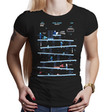 Shop like a gamer. PixelRetro is your best destination for Video Game T-Shirts for Women. King Donkey Kong Mashup from 1981 mashed up into an Ice, Winter style on a Black Fit, Women's Fitted T-Shirt. Arcade, NES, Nintendo, Retro, classic design from the 80s, Mario, Pixel, Japan, Japanese design. Created with a unique look. Online shop only. Soft, durable and high quality cotton. Art By Ilustrata.