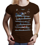 Shop like a gamer. PixelRetro is your best destination for Video Game T-Shirts for Women. King Donkey Kong Mashup from 1981 mashed up into an Ice, Winter style on a Brown Fit, Women's Fitted T-Shirt. Arcade, NES, Nintendo, Retro, classic design from the 80s, Mario, Pixel, Japan, Japanese design. Created with a unique look. Online shop only. Soft, durable and high quality cotton. Art By Ilustrata.