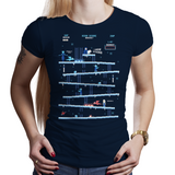 Shop like a gamer. PixelRetro is your best destination for Video Game T-Shirts for Women. King Donkey Kong Mashup from 1981 mashed up into an Ice, Winter style on a Navy Blue Fit, Women's Fitted T-Shirt. Arcade, NES, Nintendo, Retro, classic design from the 80s, Mario, Pixel, Japan, Japanese design. Created with a unique look. Online shop only. Soft, durable and high quality cotton. Art By Ilustrata.