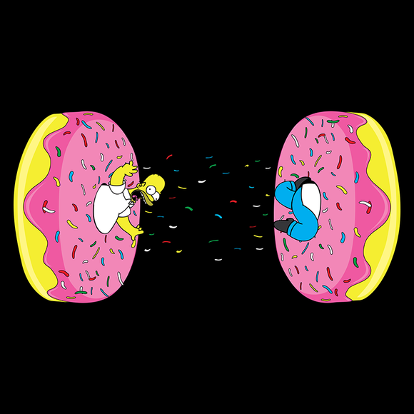 Donut Portal - Retro and Pixel Video Game T-shirts - Donut, Food, Portal, Homer, Simpons, Homer Simpson, Dartoon, Cake, Cake Is A Lie, PC, FPS, Funny, Mashup, Mash up, Sprinkles, Sweet, Cartoon, TV Series, Icing, Fun, Daletheskater, Videogame, Games, Gamer, Best, Women, Men, T-Shirt, Tee, Slim Fit, Tank Top, Long Sleeve