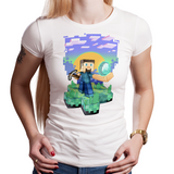 Diamond Digger - Retro and Pixel Video Game T-shirts - Minecraft, Crafting, Cave, Blocks, Digging, Pitchfork, Cubes, Potions, Sun, Happy, Kids, Womens, Mens T-shirt, Stones, Summer, Winter, Blue Sky, Coal, Birthday, Geek, Nerd, Gamer, Womens Fit, Tight Fit. White.