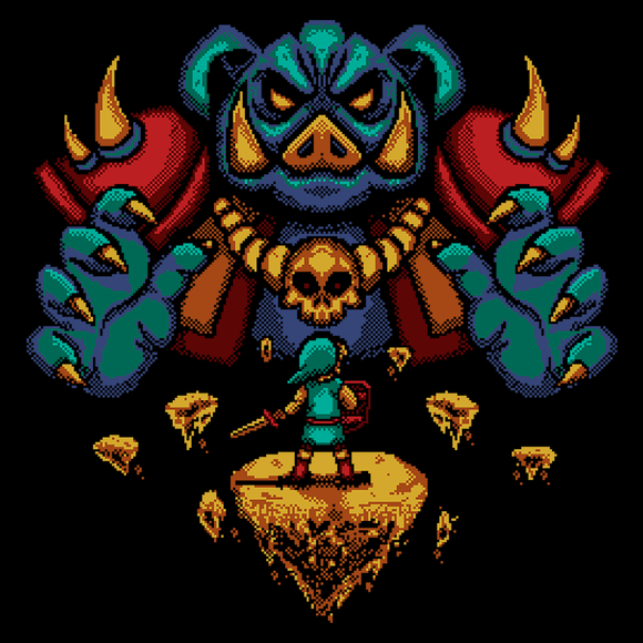 Final Boss - Video Game Pixel T-Shirts & Retro Gaming Tees! Zelda, Link, Ganon, Galfos, The Legend of Zelda, Hyrule, Princess Zelda, Triforce, Wisdom, Courage, Power, Famicom, NES, Pixel, SNES, 16-Bit, Nerd, Geek, Boss, Heart Container, Typhoonic, Women, Men, Kids, Cotton, Tank, Long Sleeved, Shirt