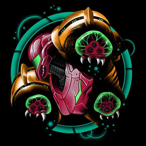 Galactic Bomber - Retro and Pixel Video Game T-shirts - Metroid, Samus Aran, Zebes, Mother Brain, Metrovania, Sci-Fi, Science Fiction, Tank, Long Sleeve, Women, Men, SNES, Nintendo, NES, Prime, 1, 2, 3, 4, Space, Bounty Hunter, Black, Navy.