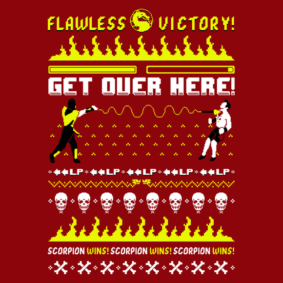 Get Over Here! - Video Game Pixel T-Shirts & Retro Gaming Tees! Pixel, Arcade, 90s, Fighter, Fighting Game, Scorpion, Ugly Sweater, Christmas, SNES, Nintendo, Fatality, Retro, Old School, Mortal, Skull, Dragon, Fire, Arena, 16-Bit, Men, Women, Tank