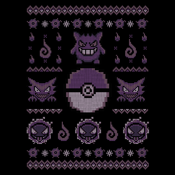 Ghost Sweater - Video Game Pixel T-Shirts & Retro Gaming Tees! Gengar, Ghastly, Haunter, Psychic, Ghost, Poison, Levitate, Dark, Pokemon, 90's, Cartoon, Retro, Game Boy, Ash, Misty, NES Nintendo, Press Start, Adventure, Fun, Typhoonic, Women, Men, Kids, Cotton, Tank, Long Sleeved, Shirt