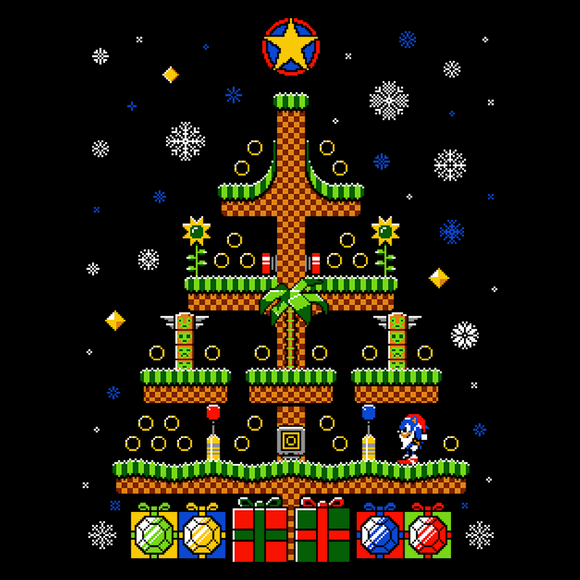 Green Hill Christmas - Video Game Pixel T-Shirts & Retro Gaming Tees! 8-Bit, 16-Bit, Green Hill Zone, Game Sweater, Christmas, Snow, Ugly Christmas Sweater, Holiday, High Quality Sweater, Pixel, Retro, Gotta Go Fast, Spring, Dash, Rings, Mario, Stationjack, Men, Women, Kids, Clothes, Tees, Tank Top, Womens Fit, High Quality